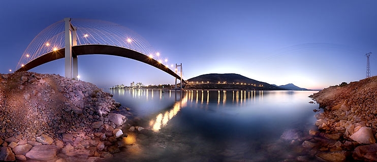 Chalkida's Bridge panoramic Photography